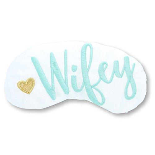 Wifey Heart Bride Sleep Mask Bridal Shower Gift White and Gold Robin's Egg Blue Eye Mask Bachelorette Honeymoon