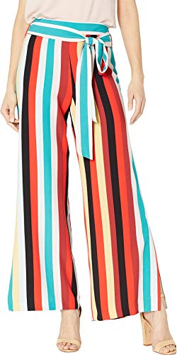 eci Women's Multi Stripe Printed Wide-Legged Pants w/Self Tie Black/Red Small 29