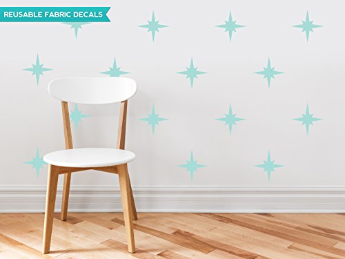 Sunny Decals Retro Stars Fabric Wall Decals (Set of 22), Aqua (Polyester Decal Shape)