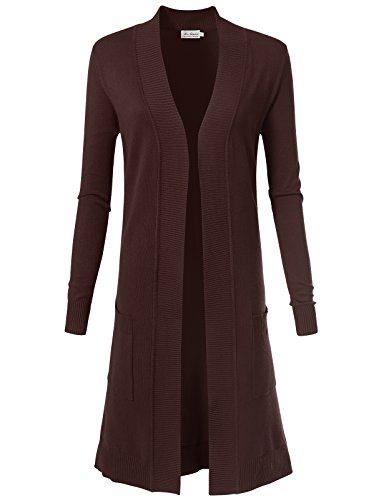 Ribbed Short Sleeve Sweater (Women's Solid Soft Stretch Longline Long Sleeve Open Front Cardigan L Brown)