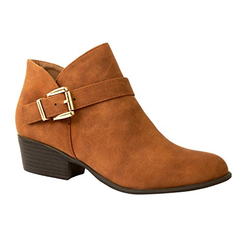 Guilty Shoes Western Cutout - Low Stack Block Heel Buckle Pointy Toe Ankle Bootie Boots Boots, Tanv2 Nubuck, 5 (B) M US Western Style Boots