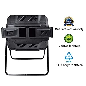 Composting Tumbler - Dual Rotating Outdoor Garden Compost Bin, Easy Turn/Enough Height/Heavy Duty Capacity Composter(43 Gallon, Balck)