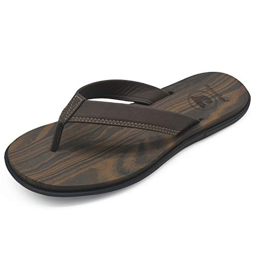 Brown Rubber Thong - jiajiale Men's Yoga Foam Flip Flops Arch Support Flat Cushion Thong Sandals Non Slip Summer Beach Shoes