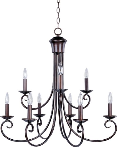 Maxim 70006OI Loft 9-Light Chandelier, Oil Rubbed Bronze Finish, Glass, CA Incandescent Incandescent Bulb , 60W Max., Wet Safety Rating, Standard Dimmable, Glass Shade Material, 672 Rated Lumens Early American Traditional Chandelier