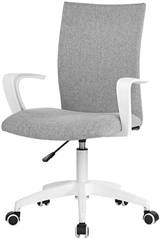 NOVELLAND Office Desk Chair with Adjustable Height – White Mordern Arms Chair – Swivel Computer Home Task Chairs Grey