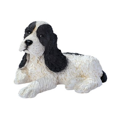 Hocker the Cocker Spaniel dog sculpture black & white puppy home garden statue (The Digital Angel) ()