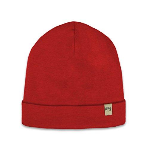 (Minus33 Merino Wool Ridge Cuff Beanie True Red One Size)