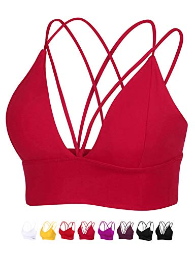 MotoRun Womens Push-up Padded Strappy Sports Bra Cross Back Wirefree Fitness Yoga Top Red-383 M ()