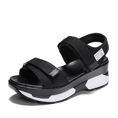 Platform Shoes Sandalo Zcjb Estate Spessore Scarpe Da Donna Fondo Velcro Sport Tempo Libero Scarpe Da Spiaggia (colore: Nero, Dimensioni: 37) Nero
