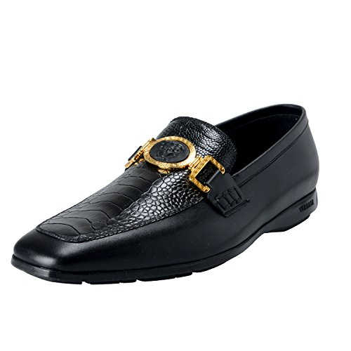 Versace-Mens-Black-Croc-Print-Loafers-Slip-On-Shoes-US-12-IT-45