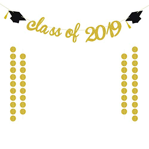 Class of 2019 Graduation Banner Decorations | Graduation Party Decorations 2019 | Large Gold Glitter Grad Banner for High School, College Graduation| Extra Gold Glittery Circle Dots Garland]()
