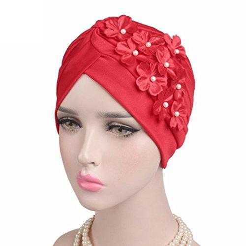 (Gift for Friends, Egmy 1PC Women Ladies Boho Cancer Hat Beanie Scarf Turban Head Wrap Cap (Red))