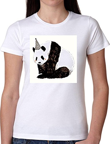 T SHIRT JODE GIRL GGG22 Z0353 PANDA BIRTHDAY PARTY CARTOON ANIMAL SWEET FUNNY FASHION COOL BIANCA - WHITE L