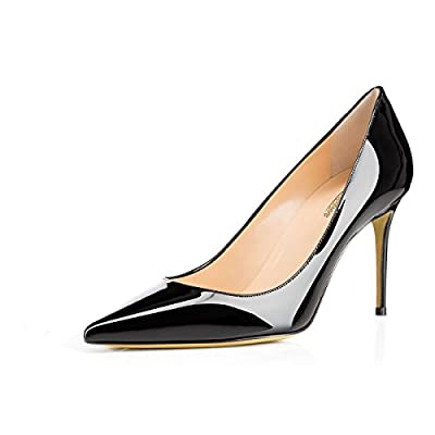 MODEMOVEN Women's Black Pointed Toe Pumps Slip-on Office Business High Heels Sexy Stiletto Shoes 6.5 M US
