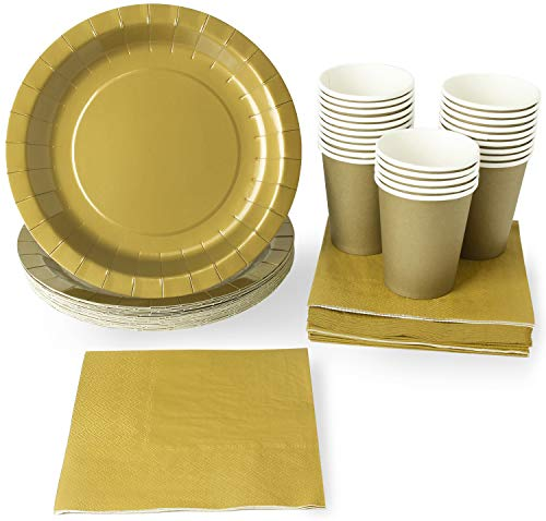 Gold Party Supplies - 24-Set Paper Tableware - Disposable Dinnerware Set for 24 Guests, Including Paper Plates, Napkins and Cups, Gold