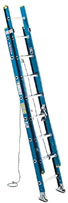 Werner D6024-2 250-Pound Duty Rating Fiberglass Flat D-Rung Extension Ladder, 24-Foot