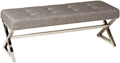 Homelegance 4605GY Metal Base Bench, Grey