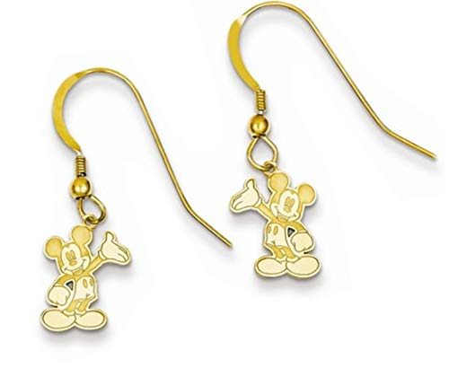 Mickey Dangle Wire Earrings - Roy Rose Jewelry Gold-plated Sterling Silver Waving Mickey Mouse Dangle Wire Earrings
