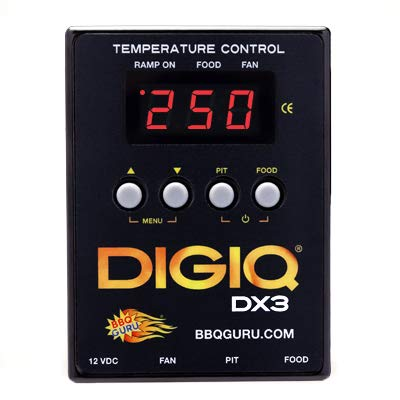 DigiQ DX3 BBQ Temperature Controller, Digital Meat Thermometer with Universal Adaptor Big Green Egg and Weber by BBQ Guru