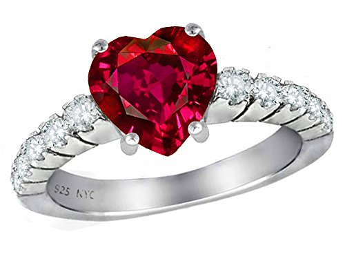 Star K 8mm Heart Shape Created Ruby Ring Sterling Silver Size (Red Star Ruby)