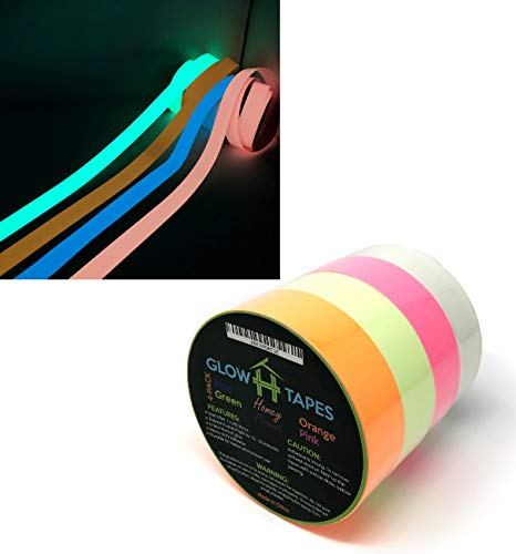 Glow in Dark Tape | Heavy Duty Set of 4 Bright Colors: Green, Orange, Blue, Pink | Strong With Hours of Glow | Great For Glow Party Supplies & Decorations | Each Luminous Glow Tape is 1 x 200 Inches