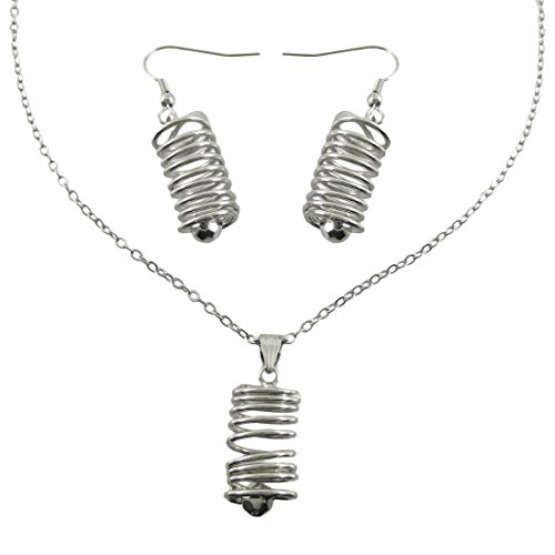 Metal Womens Earring And Necklace Sets Chrome Spiral Wire Cylinder Necklace / Earrings Set (Cylinder Set Wires)