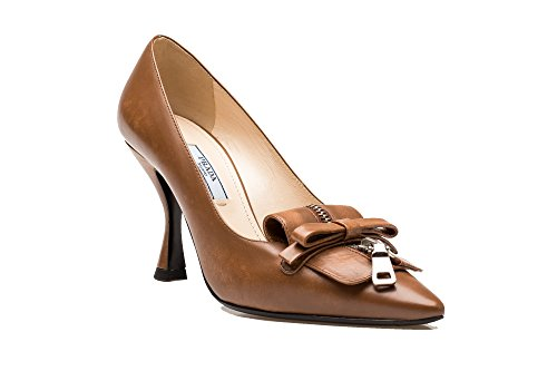 Prada Women's Leather Front Zipper Bow High Heel Pump Shoes Brown