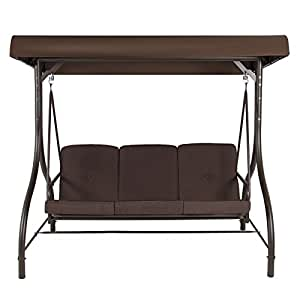 T-foot 3 Seats Converting Outdoor Swing Canopy Hammock Patio Deck Furniture(Brown)
