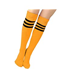 Soccer Socks, A Pair of Women Knee High Triple Stripe Football Socks