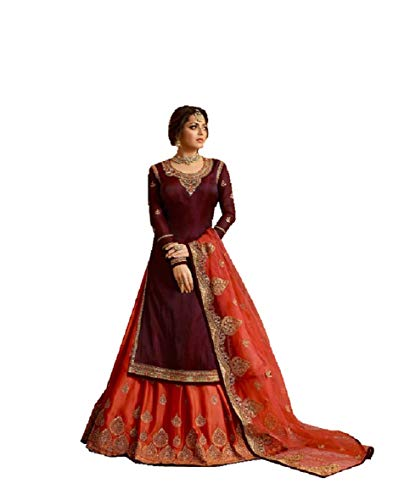 - Indian/Pakistani Ethnic wear Georgette Straight Salwar Kameez for Womens (Purple, 1X-PLUS-50)