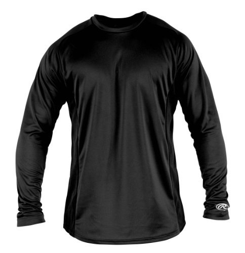 Rawlings Boy's Long Sleeve Baselayer Shirt, Black, Medium