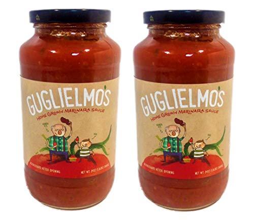 Guglielmo's Marinara Pasta Sauce (2) 24 oz Jars, Vegan Traditional Fresh Ingredients - Tomatoes, Green and Red Peppers, Basil, Onion, Garlic, Oregano