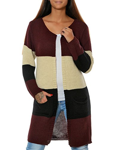 Damen Strickjacke Pullover Cardigan Mantel Langarm (weitere Farben) 15777 Bordeaux