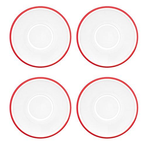 Dansk Kobenstyle 4-Piece Demitasse Saucer Set, Chili Red