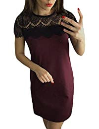 Women's Summer O-Neck Lace Short Sleeve Patchwork Bodycon Casual Mini Dress