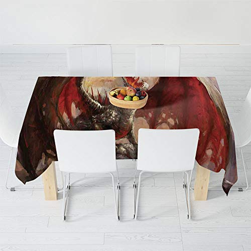 Custom Tablecloth,Fantasy World,for Home & Office & Restaurant Table Tea Table,70.1 X 52 Inch,Majestic Dragon Resting on Mountain Mythological Fire
