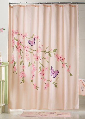 Cherry Blossom & Butterflies Pink Shower Curtain