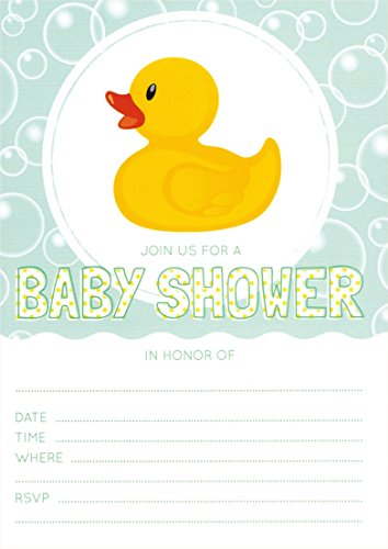 Rubber Ducky Baby Shower 5x7 Invites (24 ct) with White Envelopes