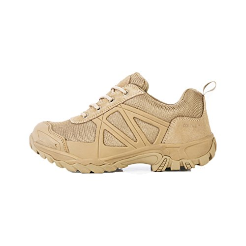 Suetar All Seasons Tactical Trekking Shoes Breathable and Waterproof Military Hiking Shoes Durable Non-Slip and Comfortable Combat Boots Khaki