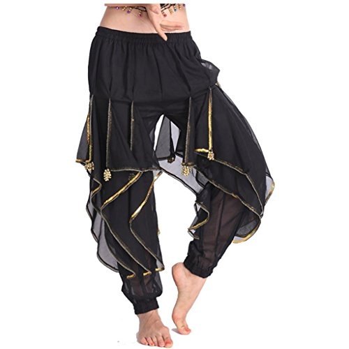 MUNAFIE Belly Dance Harem Pants Tribal Arabic Halloween Pants with Gold Trim US0-14 Black ()