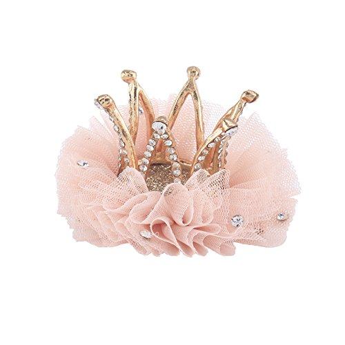 Crown Clip - Santfe Baby Girl Princess Crystal Rhinestone Crown Hair Clip Hairpin Headwear Party Accessories (pink-a)