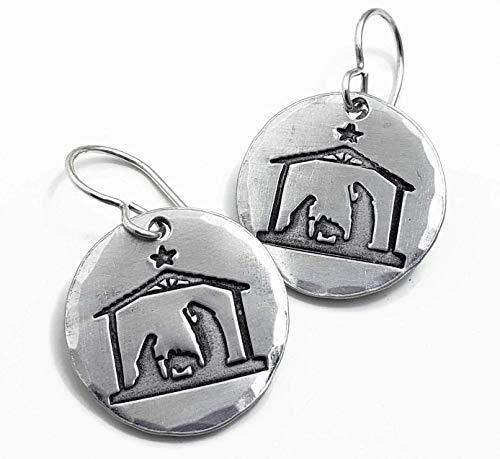 Nativity Earrings Handmade Sterling Silver & Aluminum