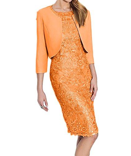 Knielang mit Spitze Brautmutterkleider Langarm Etuikleider Abendkleider Damen Grau Partykleider Hell Charmant Orange azvwIqSY