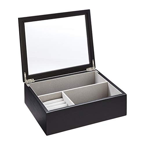 AmazonBasics Wooden Jewelry/Watch Box with Glass Top, Black