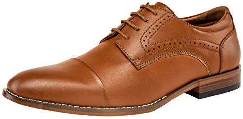 VOSTEY Men's Oxfords Cap Toe Brogue Formal Dress Shoes ()