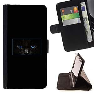 KingStore / Leather Etui en cuir / Samsung Galaxy S4 Mini i9190 / Minimalista Gato Negro misterioso
