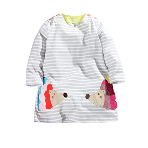 Cute Girls Cotton Long Sleeve Dress Embroidery Porcupine (24M)