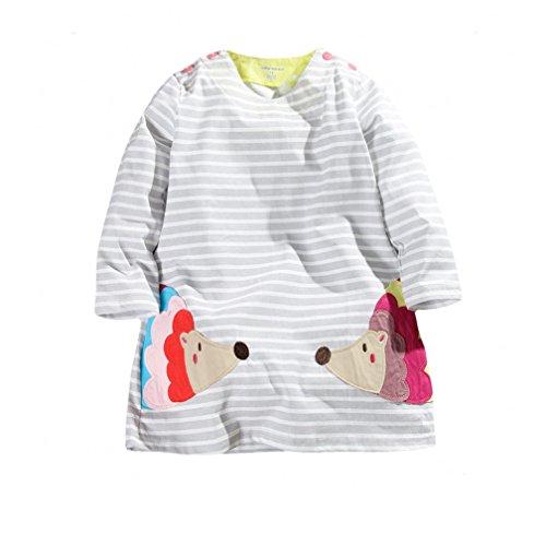 Porcupine Fancy Dress Costume (Cute Girls Cotton Long Sleeve Dress Embroidery Porcupine (5T))