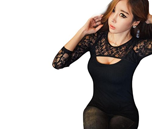 WOCACHI Sexy Frauen-Spitze O-Ansatz lange Hülsen-Dame T-Shirt beiläufige Bluse Tops (M, Schwarz)