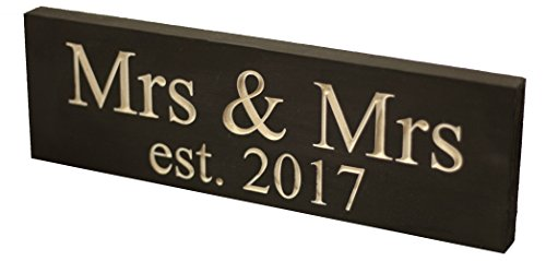 Ideas Red Costume Indian (Mrs & Mrs Est. 2017 Lesbian Wedding Sign - Made from Solid Reclaimed Wood, Individually Carved - USA Made - Lightweight, Handmade, Wedding Decor - Newlywed Gifts - Home Decoration)